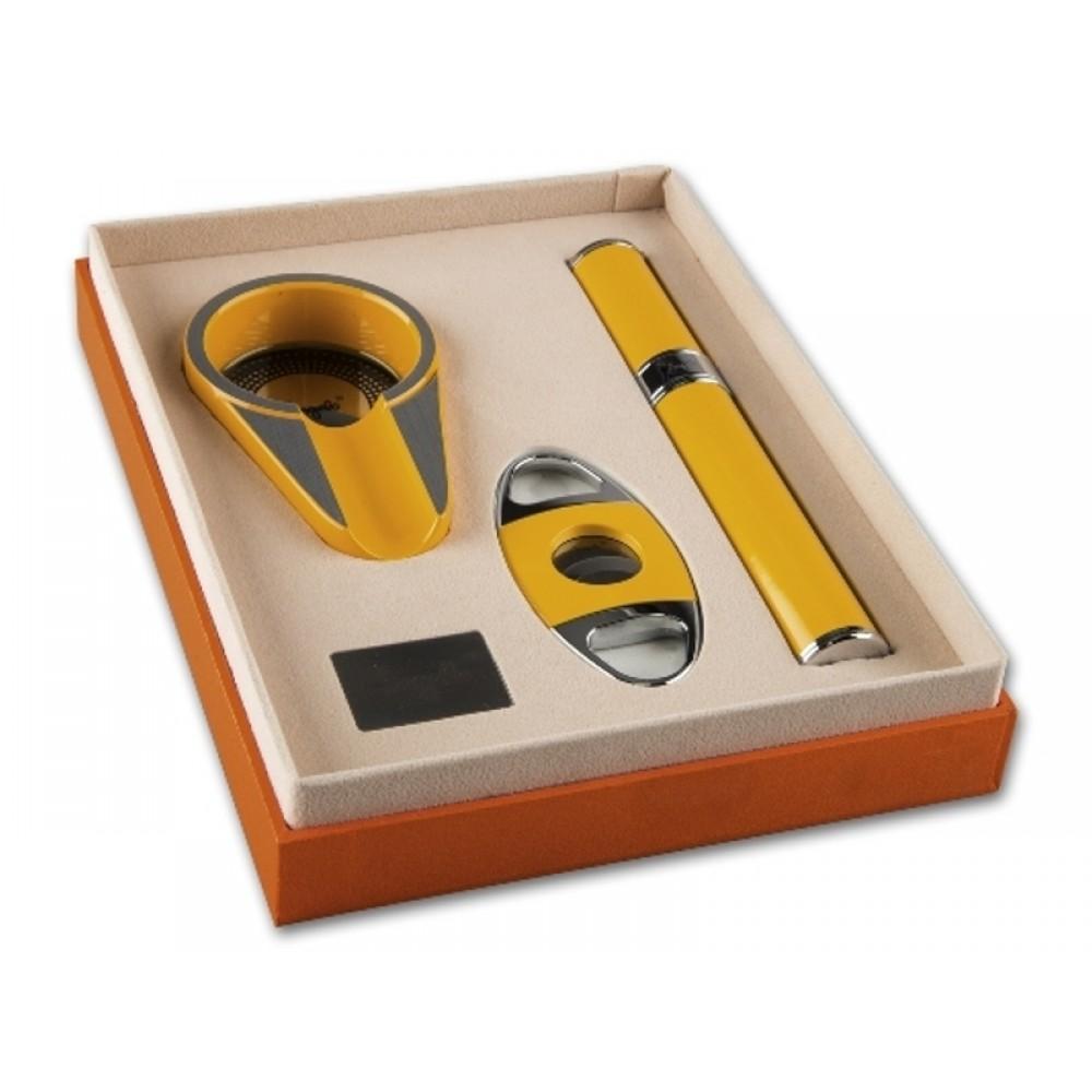 Szivarhamutartó, szivartok és szivarvágó szett - Angelo, sárga