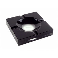 Kristály szivar hamutál - fekete, szögletes (exkluzív!) - 20 x 20cm