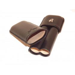 Szivartok Angelo - 2 szivar részére, fekete bőr, 18cm