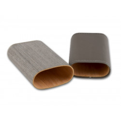 Szivartok - 3 szivar részére, fémdíszítésű szürke bőr (14-19x3cm)