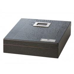 Humidor 20 szál szivar részére, cédrusfa szivar tároló doboz, párásítóval, digitális hygrométerrel - fekete, Pierre Cardin