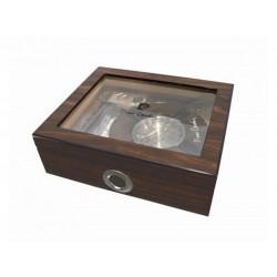 Humidor 30 szál szivar részére, üvegtetős cédrusfa szivar tároló doboz, párásítóval, hygrométerrel, barna + AJÁNDÉK szett - Pierre Cardin