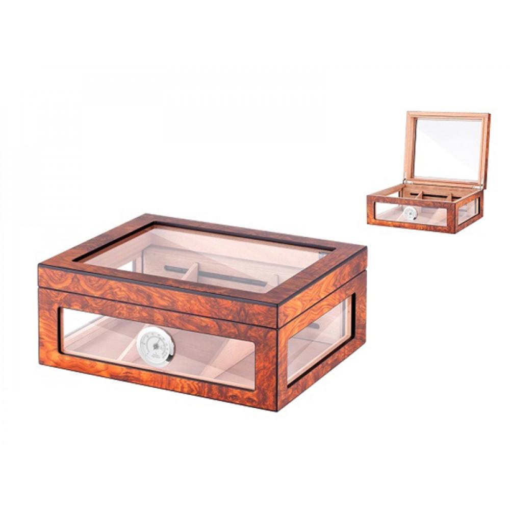 Humidor 80 szál szivar részére, cédrusfa szivar doboz, üvegtető, hygrométerrel és párásítóval - barna, Angelo