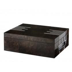 Humidor 50 szál szivar részére, spanyol cédrusfa szivar doboz, párásítóval, hygrométerrel - lakkozott barna ezüst csíkokkal