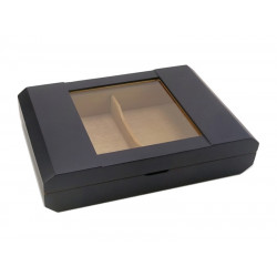 Humidor 40 szál szivar részére, cédrusfa szivar doboz, üvegtető, párásítóval, higrométerrel - matt fekete