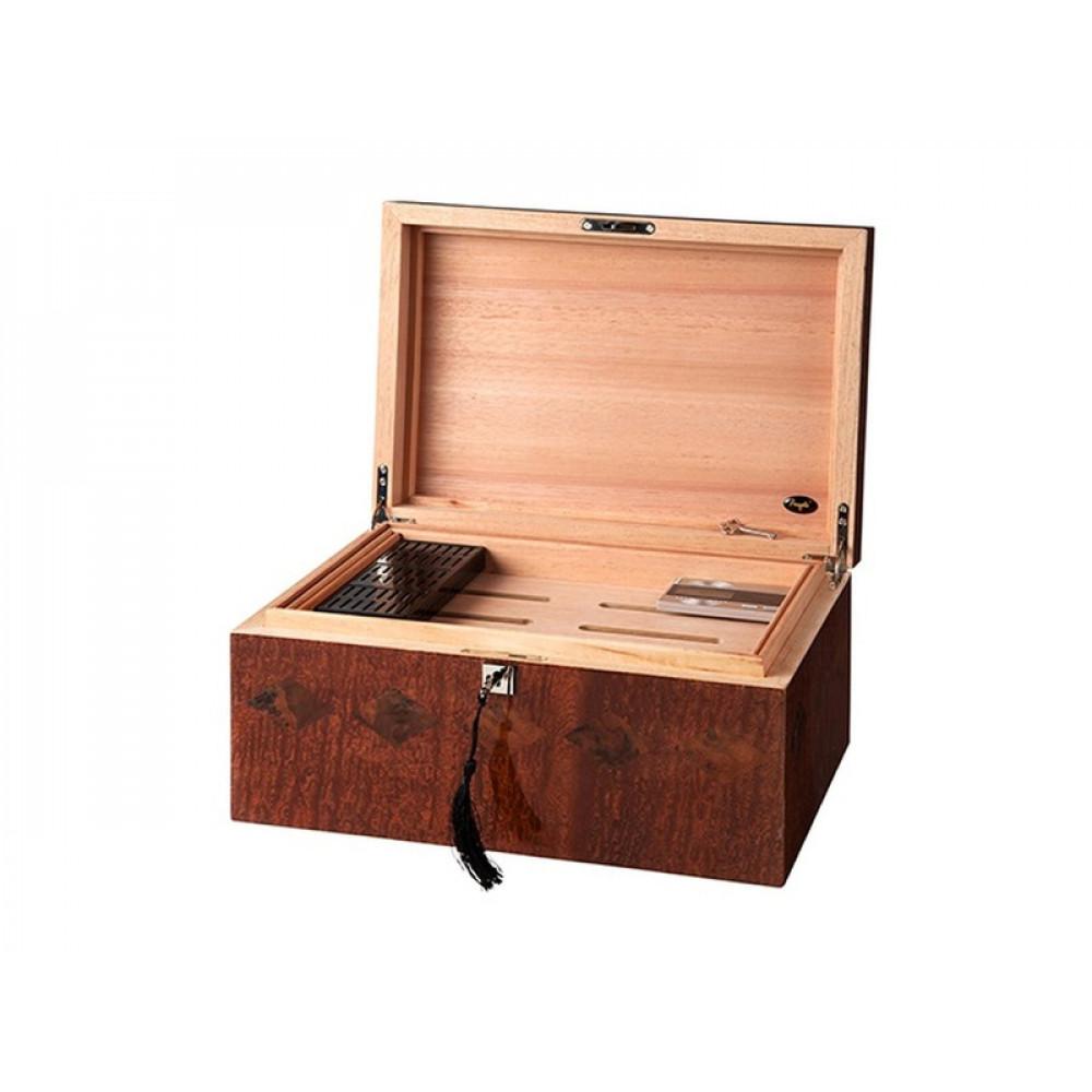 Humidor 80 szivar részére, cedrusfa, intarziás szivar doboz, párásítóval, digitásil hygrometerrel - Angelo