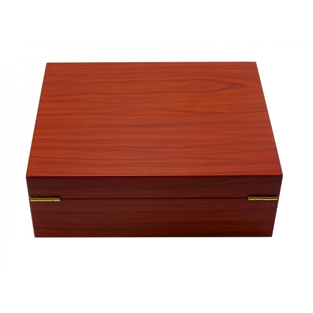 Elegáns Humidor 50 szál szivar részére, cédrusfa szivar doboz, párásítóval, hygrométerrel - bubingafa borítással