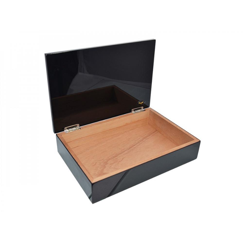 Humidor 10 szál szivar részére, cédrusfa szivar tároló doboz - lakkfekete, Angelo