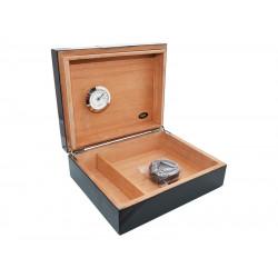 Humidor 15 szál szivar részére, cédrusfa szivar tároló doboz, párásítóval, hygrométerrel - lakkfekete, Angelo