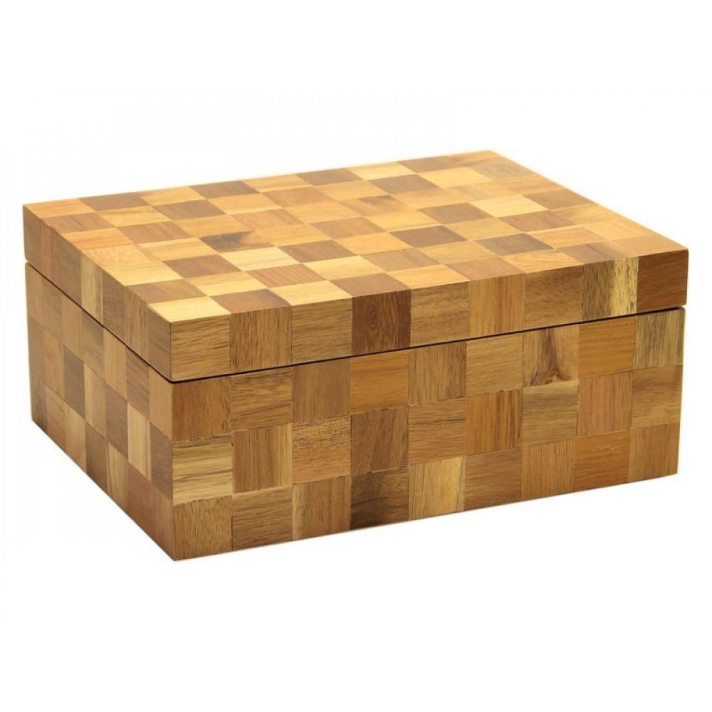 Humidor 50 szál szivar részére, cédrusfa szivar doboz, párásítóval, hygrométerrel - pepita
