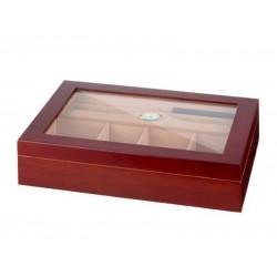 Gasztro humidor 80 szál szivarnak, matt cseresznye szivartartó doboz, spanyol cédrusfa, üvegtető, párásító és hygrométer