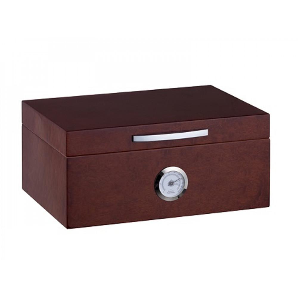 Humidor 50 szál szivar részére, cédrusfa szivar doboz, akrillpolymer kristályos párásítóval, hygrométerrel - barna, Angelo