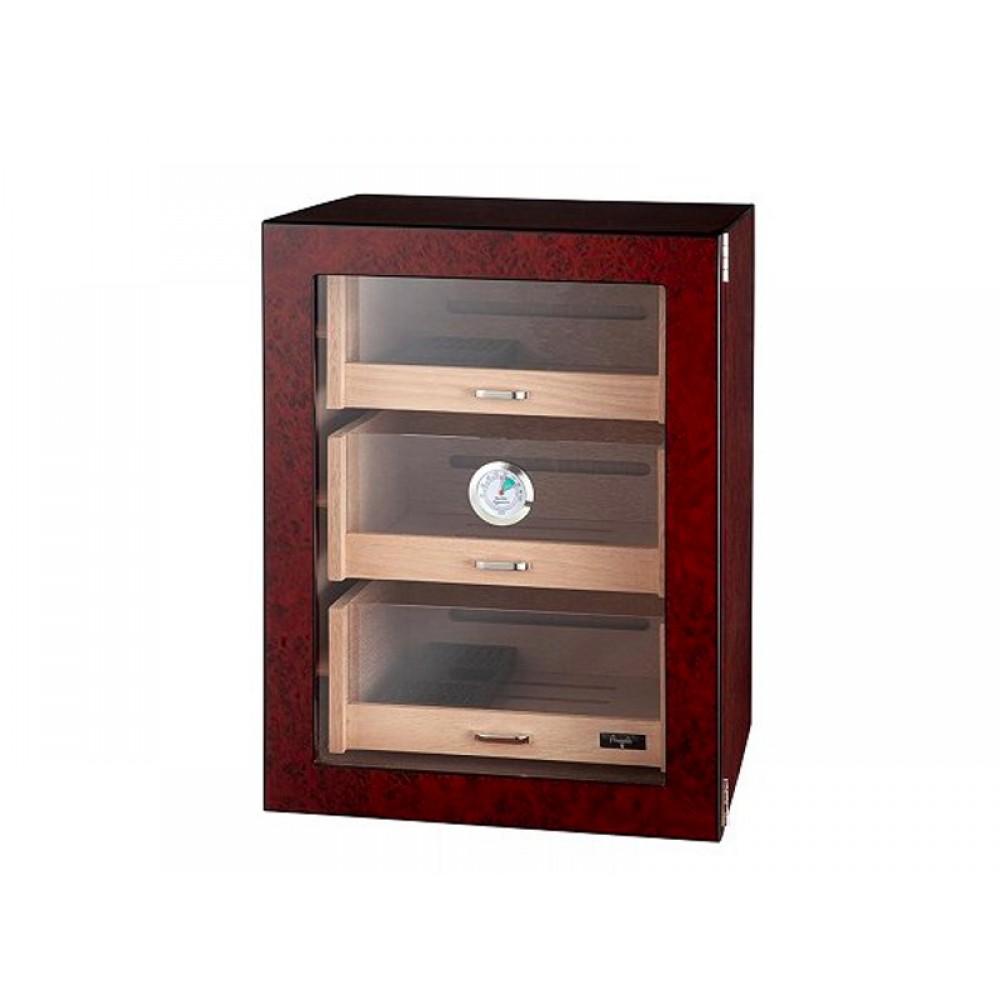 Humidorszekrény - szivar tároló szekrény 80-100 szál szivarnak, spanyol cédrusfa, párásító, digitális hygrométer - üvegajtóval, barna Angelo