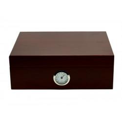 Humidor 30 szál szivar részére, cédrusfa szivartartó doboz, párásító és külső hygrometer - bordó