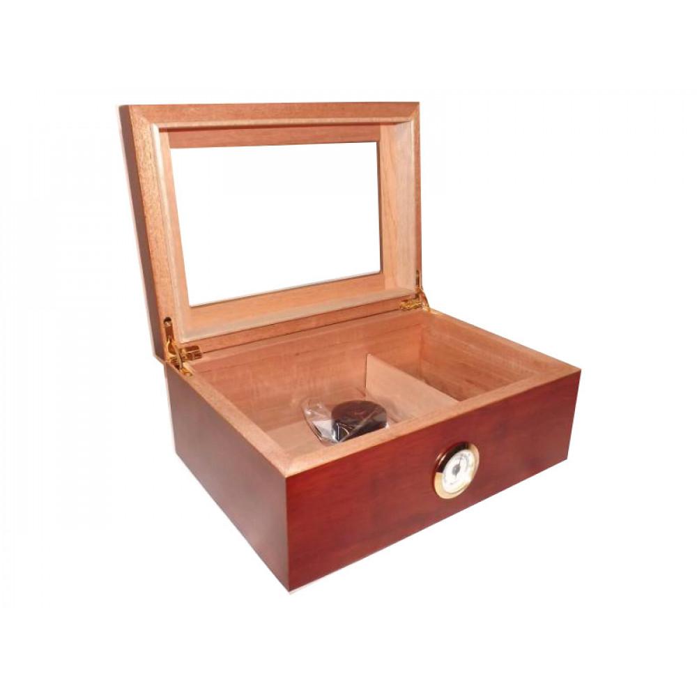 Humidor 50 szál szivar részére, cédrusfa szivar doboz, üvegtető, párásítóval, hygrométerrel - barna, Angelo