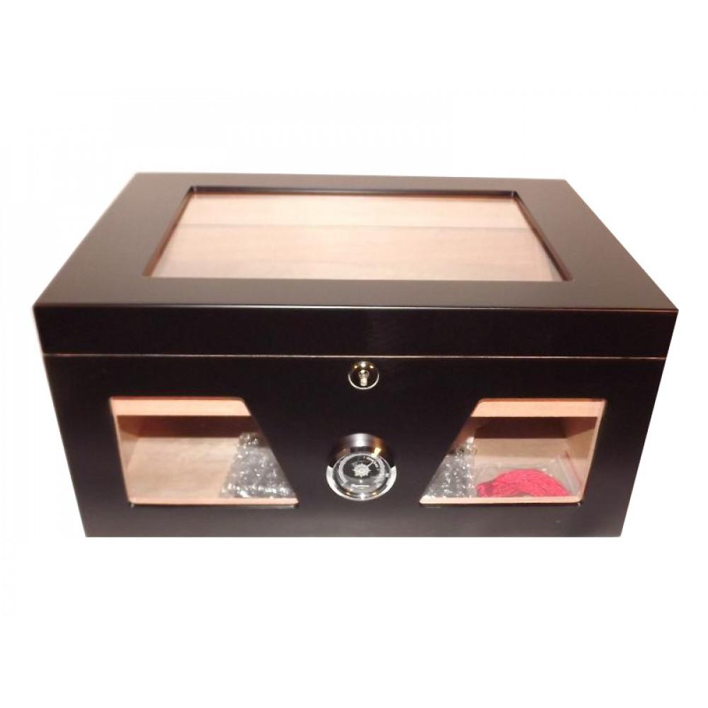 Gasztrohumidor 100 szál szivar részére, üveges szivar doboz, cédrusfa, külső hygrométerrel és párásítóval - fekete, Angelo