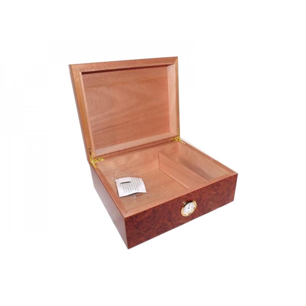 Humidor 40 szál szivar részére, cédrusfa szivar tároló doboz, párásítóval, külső hygrométerrel - gyökérmintás, Angelo