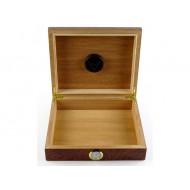 Humidor 30 szál szivar részére, cédrusfa szivar tároló doboz, külső hygrométerrel - gyökérmintás, barna színű, Angelo