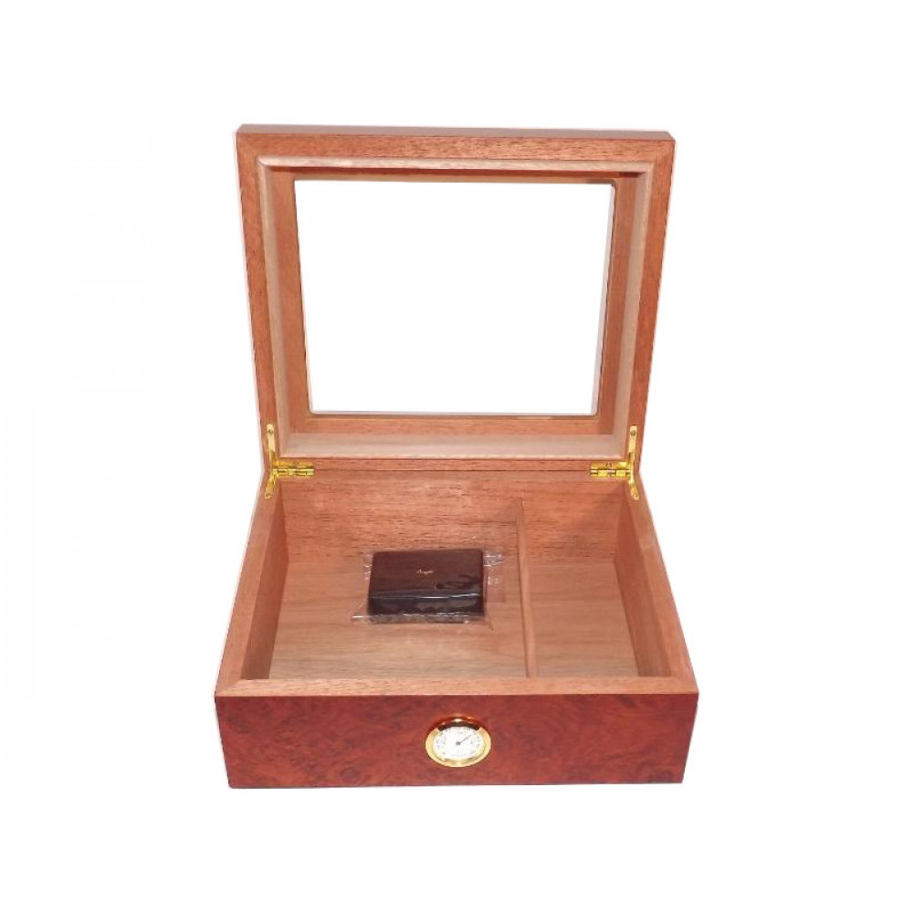 Humidor 50 szál szivar részére, cédrusfa szivar doboz, üvegtető, párásítóval, hygrométerrel - gyökérmintás, Angelo