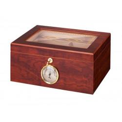 Humidor 50 szivar részére, barna színű cedrusfa szivar doboz, mintás üvegtetővel, külső hygrometerrel