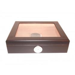 Humidor 30 szál szivar részére, cédrusfa szivar doboz, üvegtető, párásítóval, hygrométerrel - fekete, Angelo