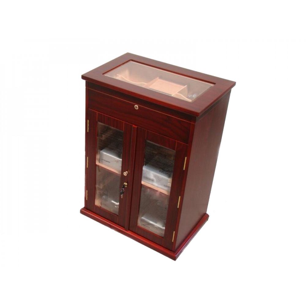 Humidorszekrény - szivar tároló, 250-400 szál szivarnak, cédrusfa belső, körbe üveges, hygrométer - Santo Domingo