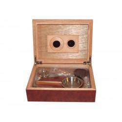Humidor 30 szál szivar részére - cédrusfa szivardoboz, párásítóval, hygrométerrel - barna + AJÁNDÉK szett!