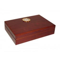 Utazó humidor - cédrusfa szivartartó doboz, párásítóval és külső hygrométerrel