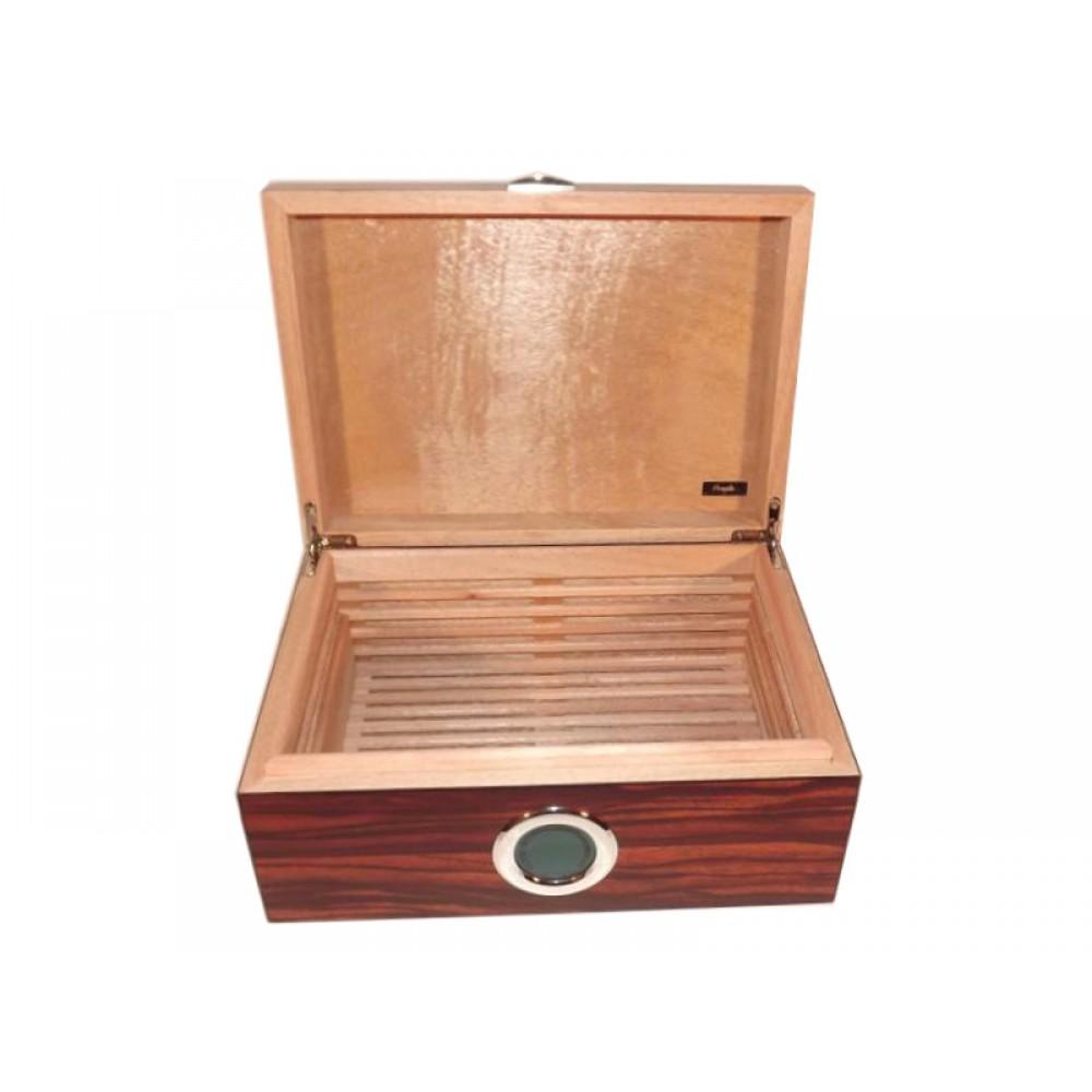 LUXUS humidor 50 szál szivar részére, cédrusfa szivar doboz, DIGITÁLIS hygrométerrel, párásítóval - barna-csíkos, Angelo