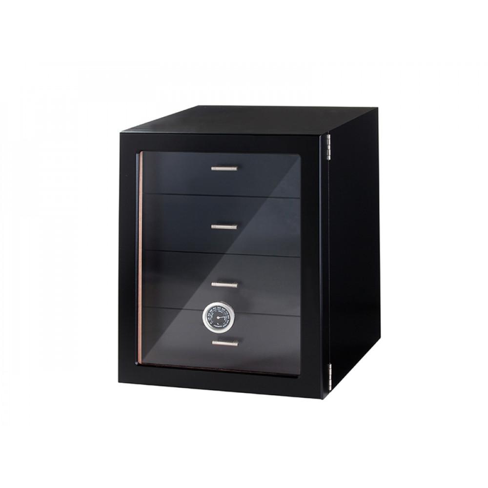 Humidor szekrény 80 szivar részére, fekete színű, 4 fókkal, külső hygrometer, üveg ajtó - Angelo