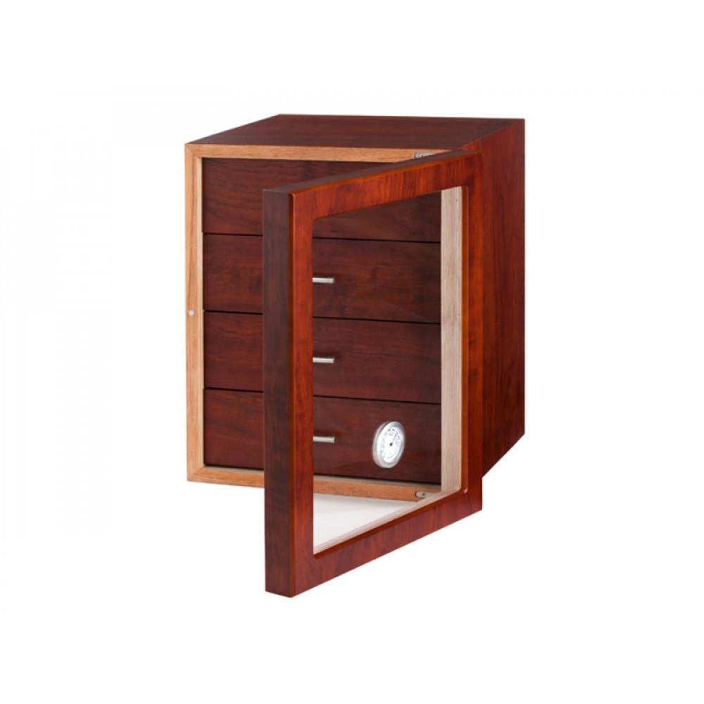 Humidor szekrény 80 szivar részére, barna színű, 4 fókkal, külső hygrometer, üveg ajtó - Angelo