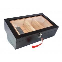Gasztro szivar tároló doboz - nagy méretű cédrusfa szivartartó, üvegtető, hygrométerrel és párásítóval - barna, Angelo