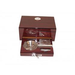 Humidor 10 szál szivar részére, cédrusfa szivar doboz párásítóval, hygrométerrel - barna, Angelo + Ajándék SZETT!