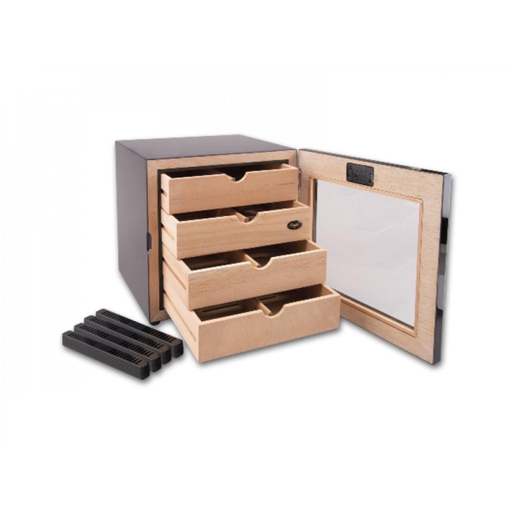Humidor szekrény 80 szivar részére, négyszögletes szivartartó szekrény, fém keretes üveg ajtóval, külső hygrometerrel - Angelo