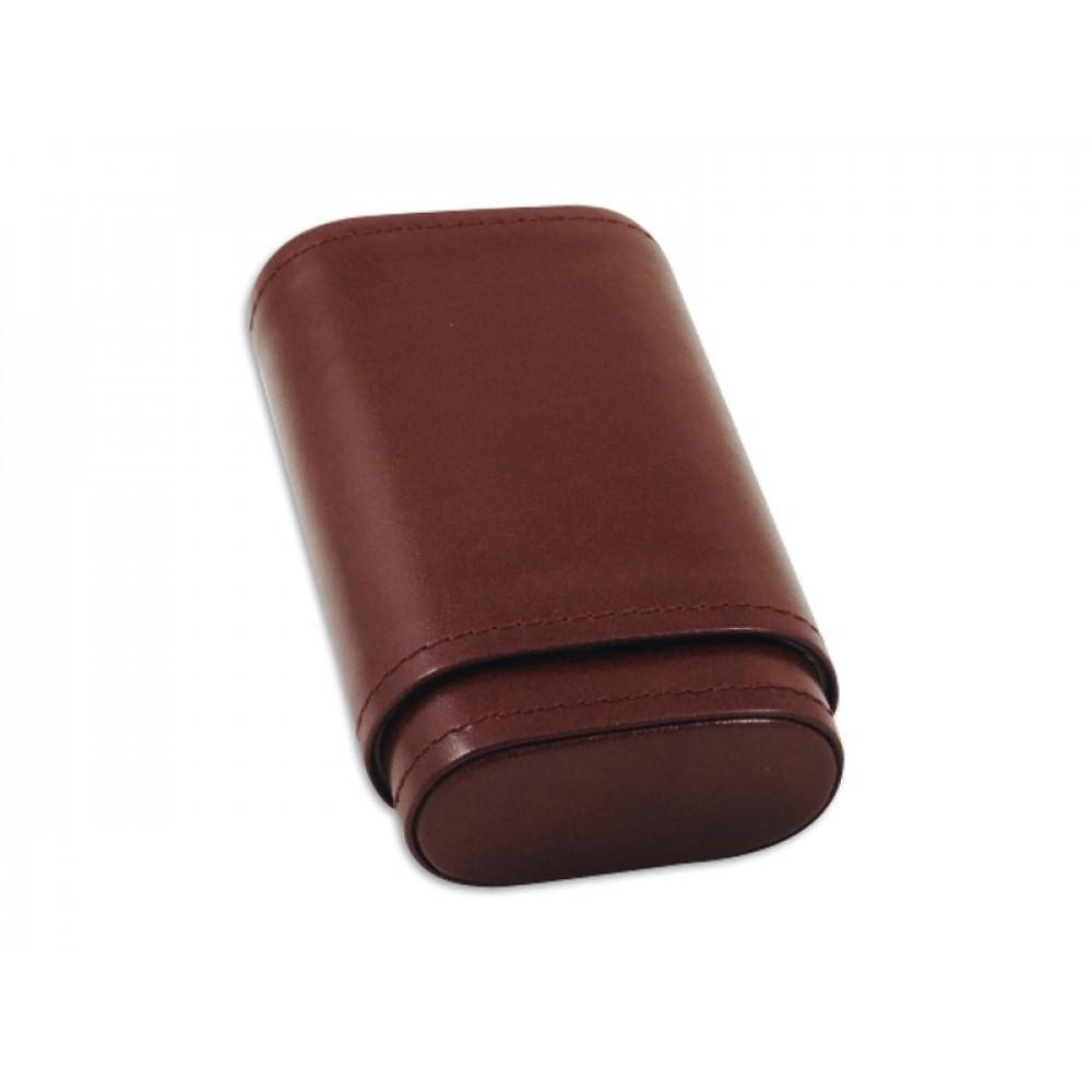 Szivartok - 3 szivar részére, barna bőr (110x63x25mm)