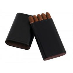 Cigarillo tok 5 szivarka részére - fekete bőr (100x55x16mm)