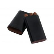Szivartok - 3 szivar részére, fekete bőr (120x64x21mm)