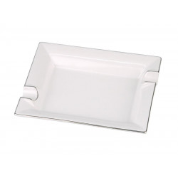 Szivar hamutál - Porcelán, fehér ezüst szegélyes (21x17cm)