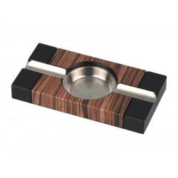 Fa szivar hamutál fekete dekorral - 2 szivarnak