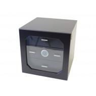 Humidor szekrény 80 szivar részére, fekete, négyszögletes  szivartartó szekrény, üveg ajtóval, külső hygrometerrel - 3 fiókkal