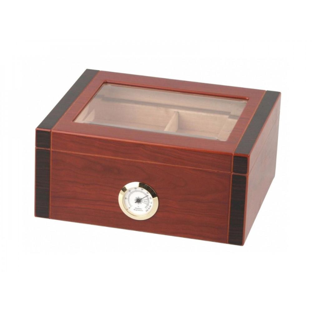 Humidor 40 szivar részére, diófa borítás, üveg tetős szivar tároló, külső hygrometerrel