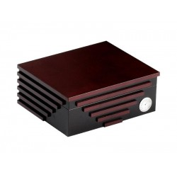 Humidor 40 szál szivar részére, fekete és cseresznye színű, cédrusfa szivar tároló doboz, párásító és külső hygrometer