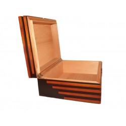 Humidor 40 szál szivar részére, fekete-barna, cédrusfa szivartartó doboz, párásító és külső hygrometer
