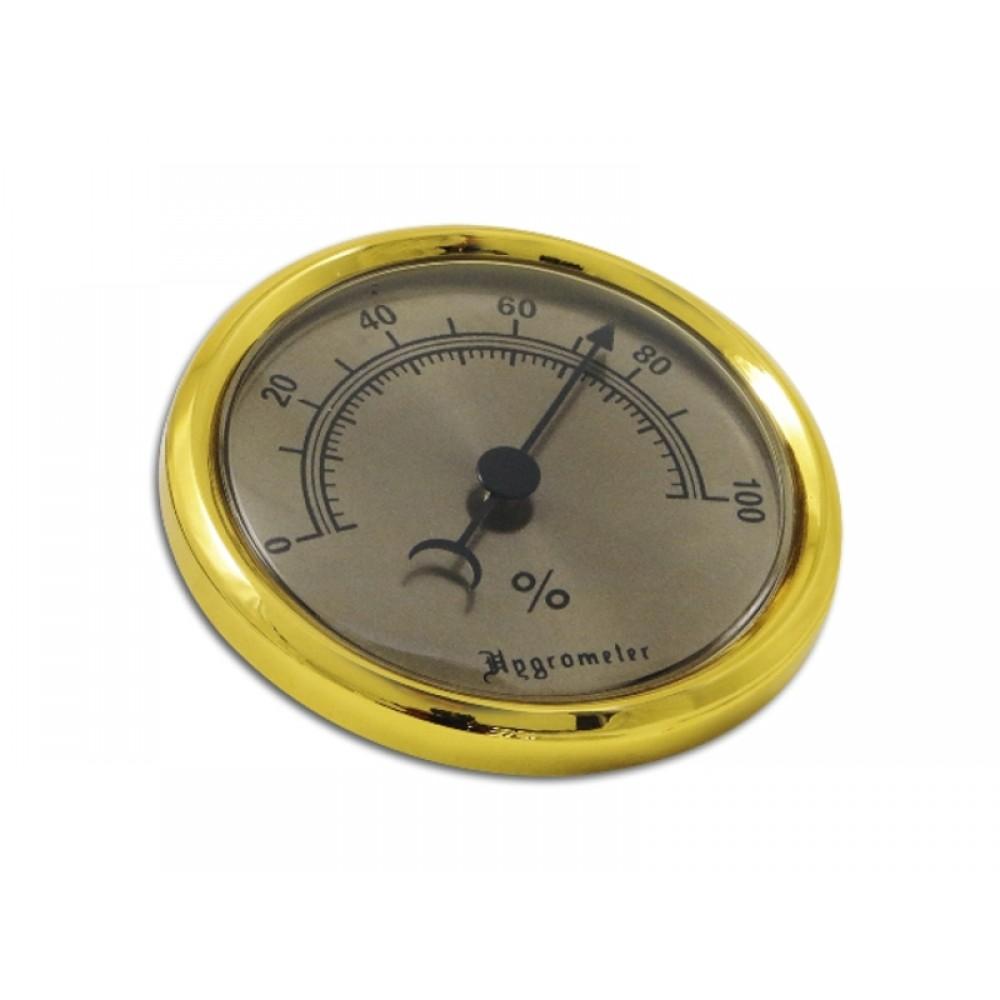 Humidor hygrométer - arany színű, nagy (7,5/5cm)