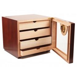 Humidor szekrény 80 szivar részére, négyszögletes szivartartó szekrény, üveg ajtóval, külső hygrometerrel - bordó