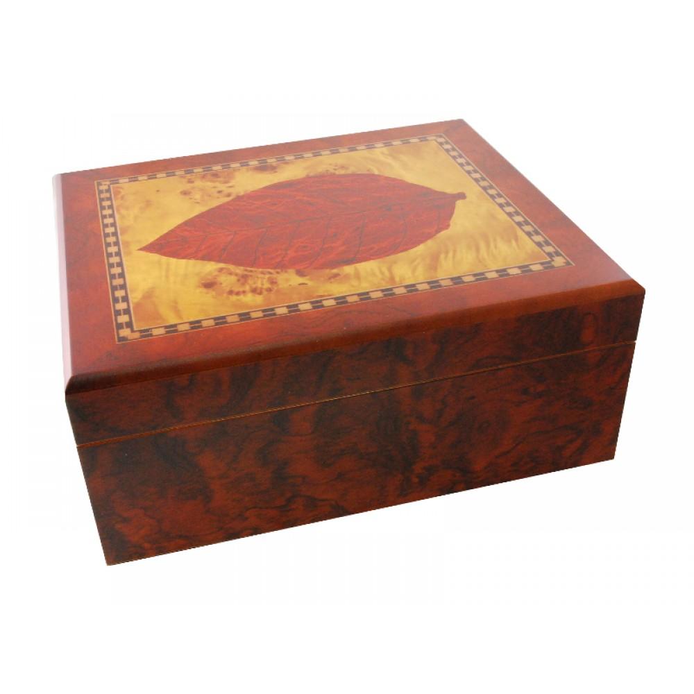 Humidor 40 szivar részére, cédrusfa szivar tároló doboz, dohányleveles dekorációval