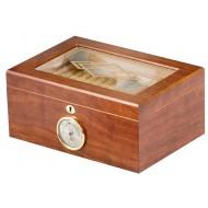 Humidor 50 szivar részére, cedrusfa, diófa borítású szivar doboz, mintás üvegtetővel, külső hygrometerrel - Achenty!