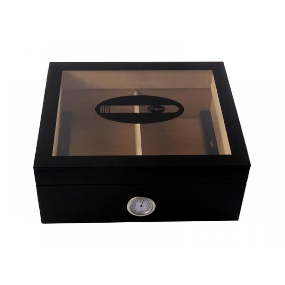 Humidor 50 szivar részére, üveg tetős szivartartó doboz, szivar díszítéssel a tetején, külső hygrometer