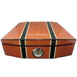 Humidor 50 szál szivar részére, szivartartó doboz, párásítóval, külső hygrométerrel - Lamborghini Carbon-orange