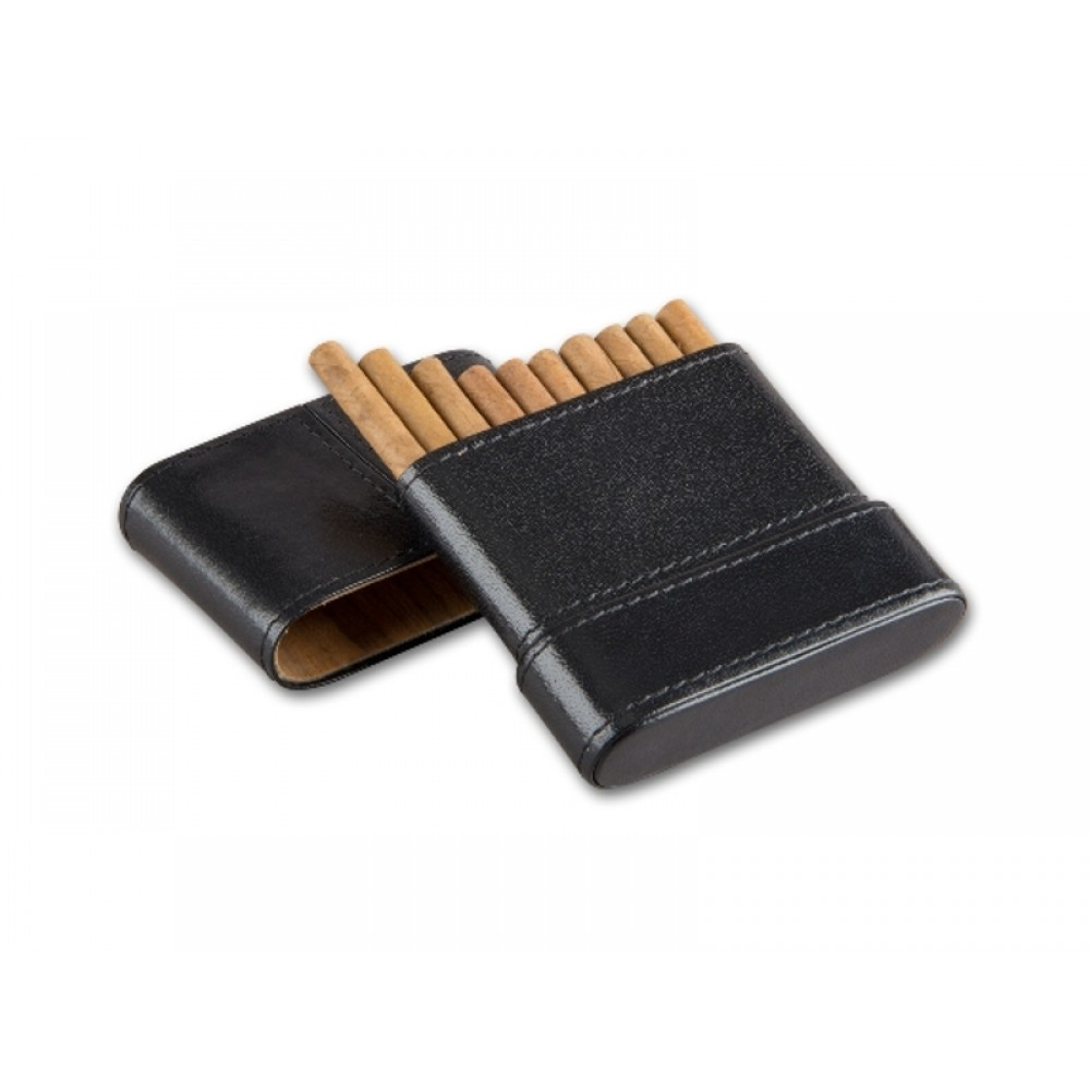 Cigarillo tok 10 szivarka részére - fekete bőr (85x85mm)